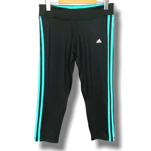 ADIDAS CLIMALITE BLACK CROPPED LEGGINGS SI…